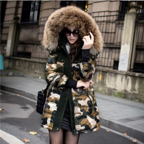 Parka Fur Collar Down Jacket Coat Hooded Camo Ny Long Kvinders Winter Syntetisk z4gqa