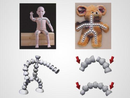 """M01255 MOREZMORE 1//8/"""" Jeton Flexible Ball Socket Armature Kit Doll Bear T5"""