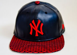New Era 9FIFTY Snapback MLB NY Yankees Faux Leather Adjustable Hat ... 16dee1a2600