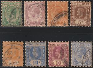 MALAYSIA-MALAYA-STRAITS-SETTLEMENTS-1921-8V-USED