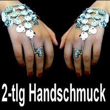 2x Bollywood Bauchtanz Belly Dance Handschmuck Sklavenarmband Silbermünzen