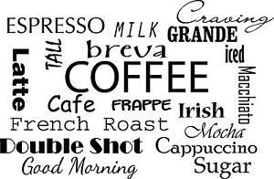 Coffee Sayings Kitchen Home Decor Vinyl Wall Decal Quote Sticker