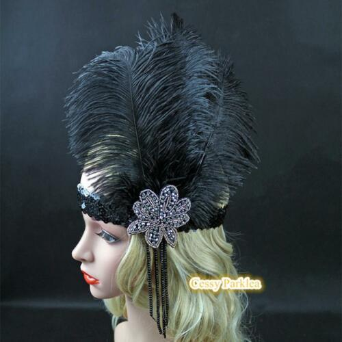 Black 1920s Headband Vintage Bridal Gatsby 20s Flapper Feather Headpiece