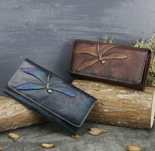 Women Retro Embossed Genuine Cow Leather Long Wallet Purse Handbag Clutch bag