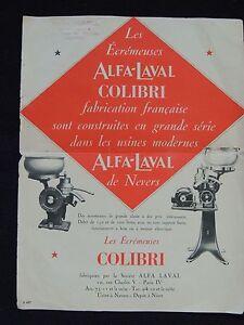 Publicite-prospectus-ecremeuses-Alfa-Laval-colibri-Nevers-Fournial-Rennes