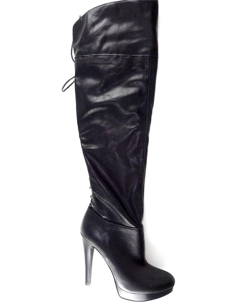 Conceptos internacionales incluido para mujer sobre la rodilla botas parees Negro M