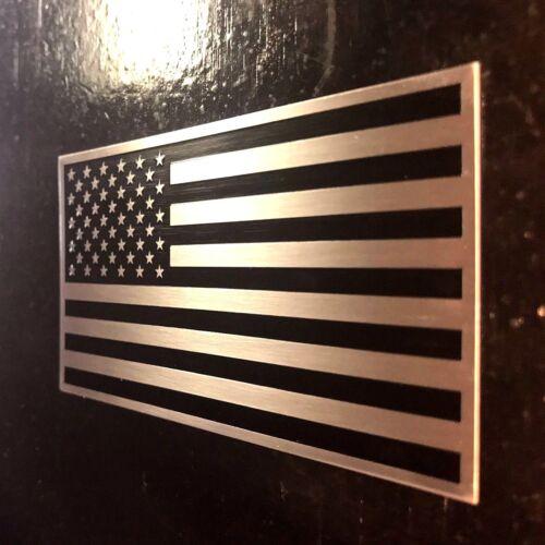"""American Flag 3D Aluminum Emblem non Decal Sticker trucks cars racing tag 2x3.5/"""""""