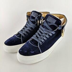 BUSCEMI Blue Velvet & Leather w/ Brass Hardware Mens Hightop Shoes Size 12 EU 45