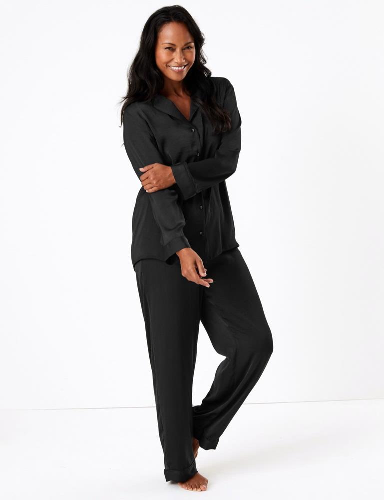 ** Nouveau ** Magnifique Bnwt M&s Satin Pyjama Set Noir Taille 20-22 Free P&p