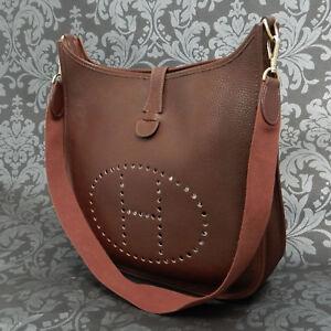 d691361c621 Rise-on Vintage HERMES Evelyne GM Fjord Leather Dark Brown Shoulder ...