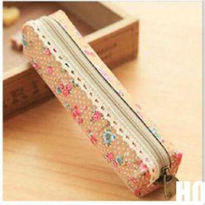 Retro Flower Floral Lace Pencil Pen Case Cosmetic Makeup Bag Pouch Holder