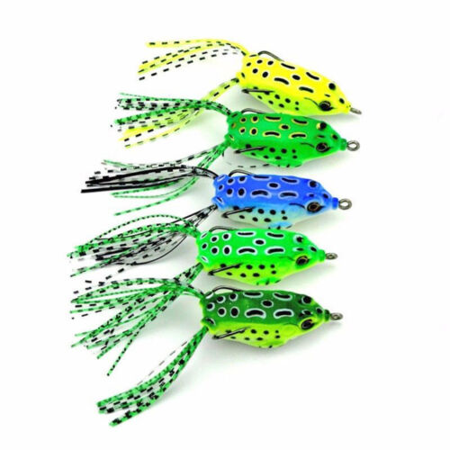 5PCS Large Frog Topwater Soft Fishing Lure Crankbait Hooks Bass Bait Tackle