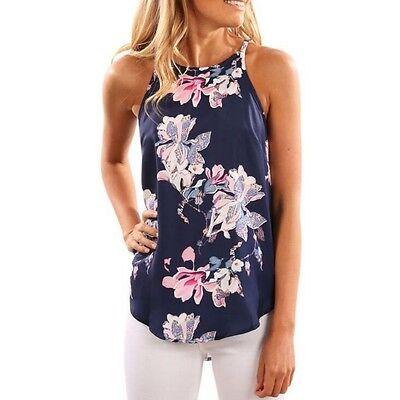 Women Summer Floral Vest Sleeveless Shirt Blouse Casual Loose Tank Tops T-Shirt
