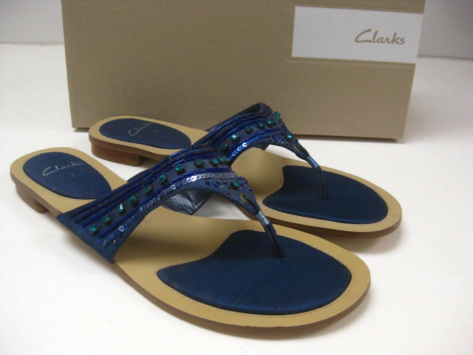 Ladies CLARKS bluee SANDALS 7 41 mules beach flats toe posts sequins boho hippy