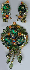 JULIANA CARVED GREEN GLASS FLOWERS ORANGE DANGLE RHINESTONE PIN & EARRINGS SET