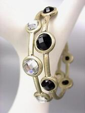 SHIMMERY 2 PC Faceted Black Clear Crystals Antique Gold Oval Bangles Bracelet
