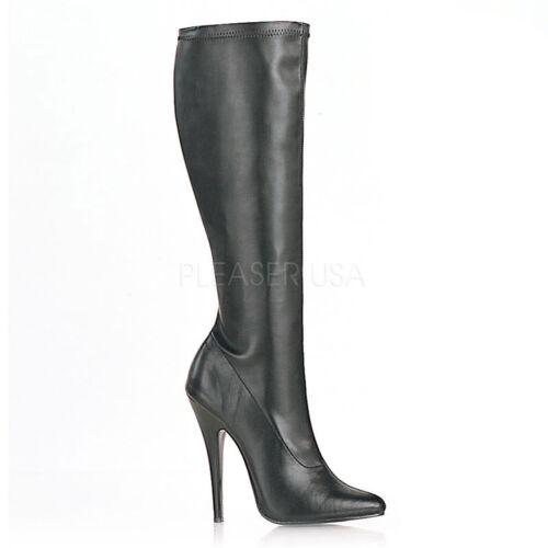 PLEASER DEVIOUS DOMINA-2000 BLACK STRETCH STILETTO HEEL KNEE-HIGH BOOTS