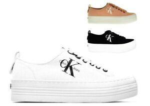 Calvin-Klein-Jeans-Sneakers-Trendy-Donna-ZOLAH-CANVAS-R0673-Bianco-Nero-e-Rosa