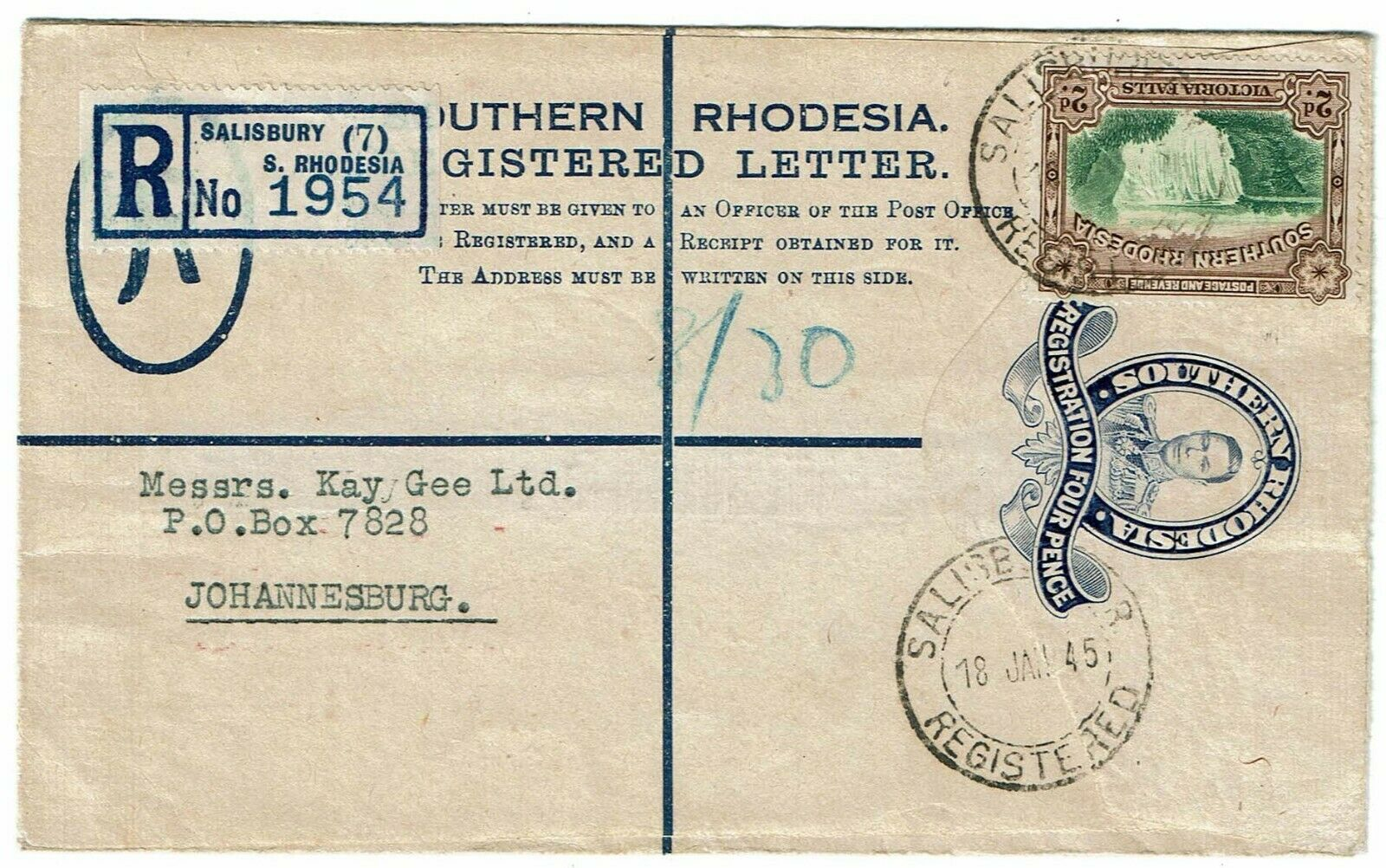 Southern Rhodesia 1945 Salisbury cancel on registry envelope to South Africa