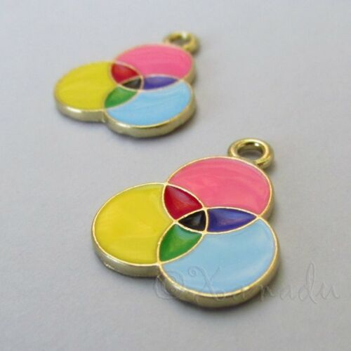 Artist Color Wheel Charms 23mm Gold Plated Enamel Pendants C2319-2 5 Or 10PCs