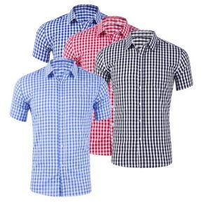 Mens-Botton-Down-Shirt-Plaid-Social-Shirt-Cotton-Short-Sleeve-Dress-Summer-Shirt