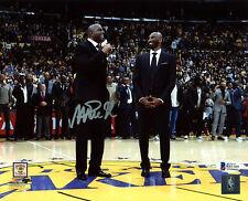Lakers Magic Johnson Signed 8x10 Photo w/ Kobe Number Retirement BAS Witness 10