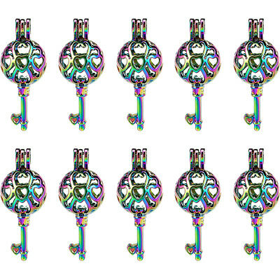 Rainbow Color Key Locket Pendant Beads Pearl Cage Bulk 10pcs -C883