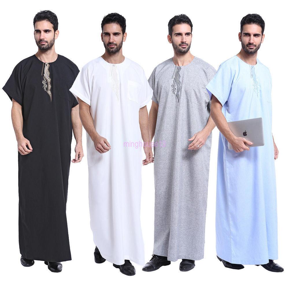 Men Dishdasha Thobe Muslim Islamic Short Sleeve Clothes Arab Saudi Jubba Clothes