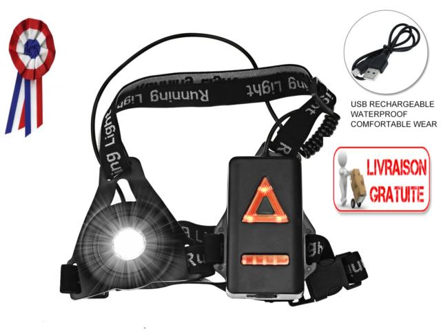Lampe Running Sport Poitrine USB Rechargeable 3 Modes LED Randonnée Etanche