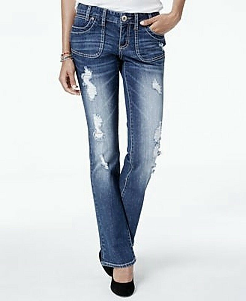 Ariya Mendoza Curvy Fit Slim Bootcut Ripped Distressed Denim Jeans Juniors' 3 4