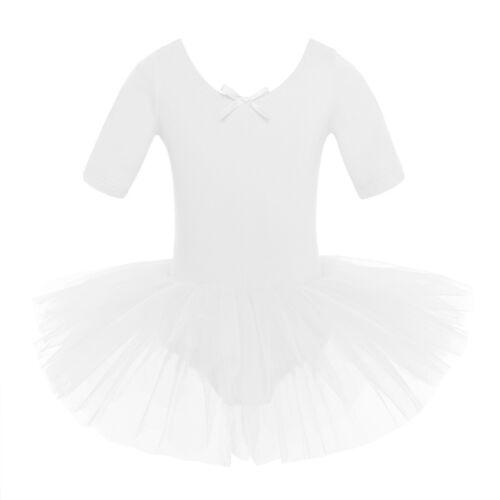 Kinder Mädchen Kurzarm Ballet Tanz Trikot Leotard Tutu Kleid Ballerina Kostüm