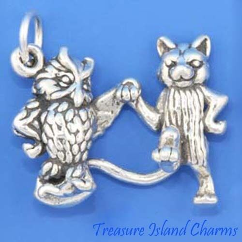Chouette et Chaton 3D .925 Solid Sterling Silver Charm Pendentif Chat Made in USA
