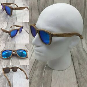 Men's Zebra Wood Frame Blue Mirror TAC Polarized Sunglasses 100% UV 400