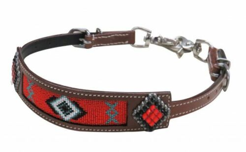 """Showman RED /& BLACK Conchos Navajo BEADED Leather WITHER STRAP Adjusts 23/""""-30/"""""""