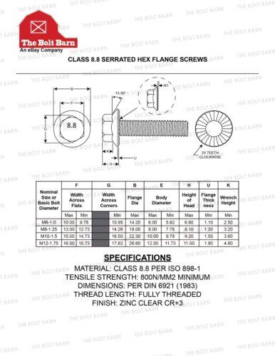 8 M8-1.25x30 Grade 8.8 Metric Serrated Hex Flange Screws Flange Bolts