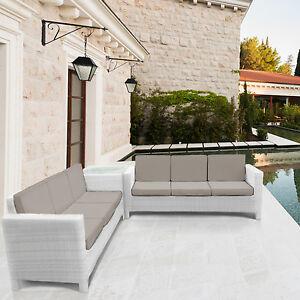 Rattan mobili da giardino divano impostato per esterno giardino d 39 inverno bianco ebay - Ebay mobili da giardino ...
