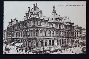 Tarjeta-Postal-Antigua-CPA-Animada-Lyon-Palacio-de-La-Bolsa