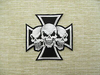 SKULLS ON IRON CROSS Embroidered Iron On Patches  Emo Goth Punk Rock
