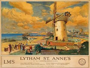 TX342-Vintage-LYTHAM-ST-ANNES-LMS-Railway-British-Travel-Poster-RePrint-A2-A3-A4