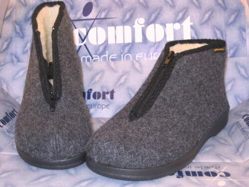 Lana virgen casa botas gris-blanco cálido /& cómodamente