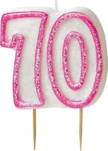 Image Is Loading Pink Glitter Dazzle 70th Birthday Candle