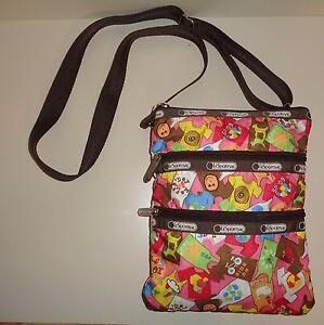 Image Is Loading Lesportsac 3 Zipper Colorful Shoulder Crossbody Bag