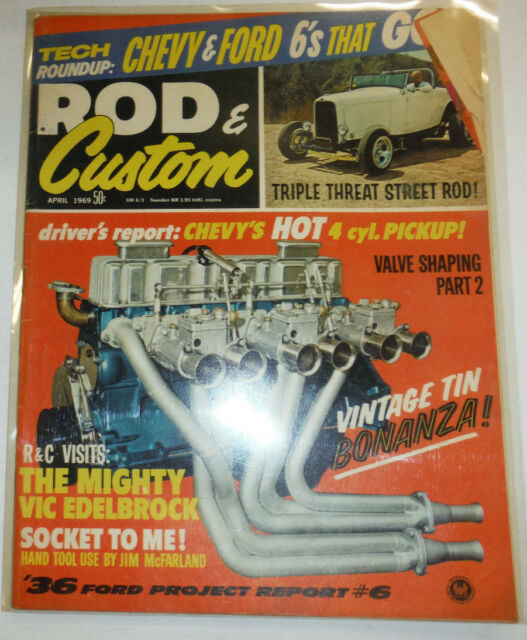 Rod & Custom Magazine Chevy's Hot 4 Cylinder Pick Up April 1969 EXC COND 030215R