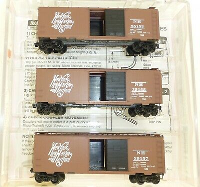 Freight Cars Micro Trains Line 20029-2 Ny Nh Hartford 3 Piece Set 40' St Box Car 1:160 #z03 Aesthetic Appearance