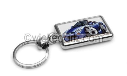 RetroArtz Cartoon Car Rover MGF 2 Seater Sportscar Blue Premium Metal Key Ring