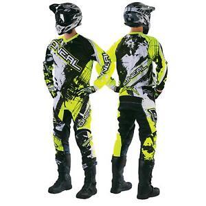 Oneal-element-Shocker-Fluo-Jaune-Combo-MX-Moto-Cross-Pantalon-Jersey-Moto-Enduro