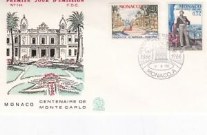 Doux Monaco 1966 Centenaire De Monte Carlo Fdc Lot De 4 Couvre Unadressed Très Bon état