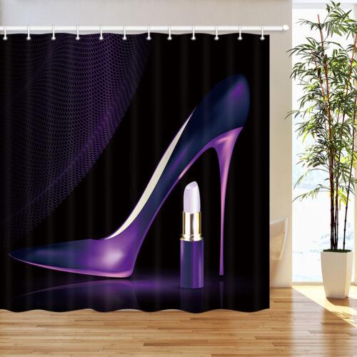 Purple high heels and lipstick Shower Curtain Bathroom Fabric /& 12hooks 71*71in