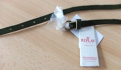 Replay Cintura In Pelle 60 Cm 71,5 X 1 Cm Verde Nuovo-mostra Il Titolo Originale