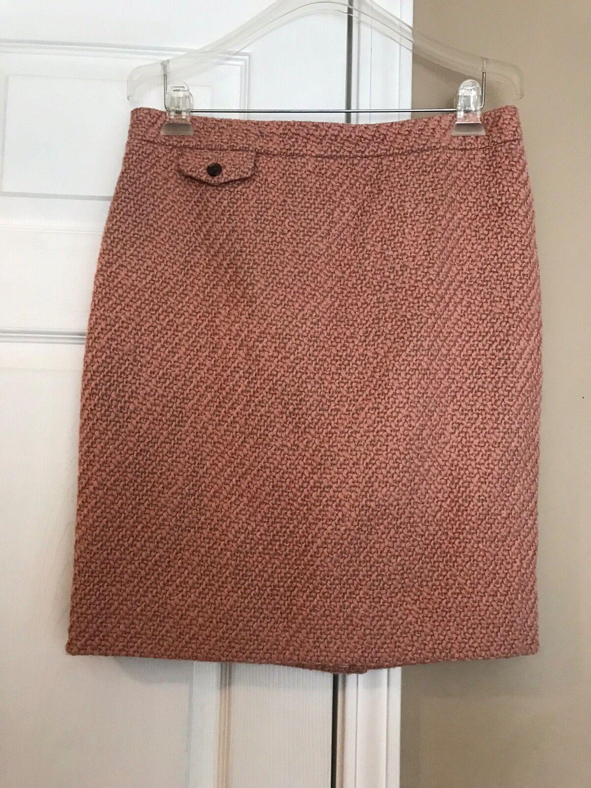 J Crew No 2 Pencil Skirt in Pink Vintage Tweed  148 Sz 8 NWT